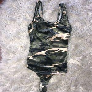 Velvet camouflage bodysuit